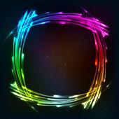 радуга цвета блестящий кадр неоновые огни — Cтоковый вектор