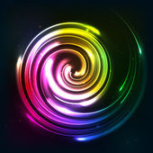 Rainbow colors shining neon lights twirl — Stockvector