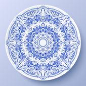 Blue vector floral ornament decorative plate — Stock Vector