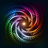 Abstract rainbow neoncosmic spiral background — ストックベクタ