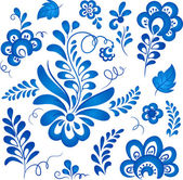 Blue floral elements in Russian gzhel style — Stock Vector