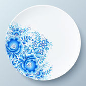 White plate with blue floral ornament — Stock Photo