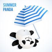 Little cute panda taking sunbath under blue umbrella — 图库矢量图片