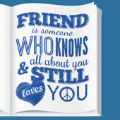Typography design on book page with quote about friendship — Vecteur