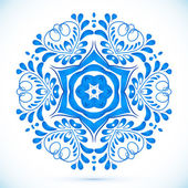 Blue floral circle pattern in gzhel style — Stockvector
