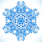 Blue floral circle pattern in gzhel style — Vector de stock