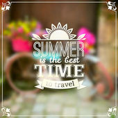 Summer time vector typography design on blurred background — Stock Vector