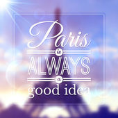 Paris typographic design on blurred Eiffel tower background — Stockvector