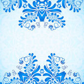 Blue greeting card template with floral pattern in gzhel style — Stock Vector