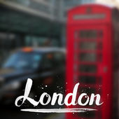 London calligraphy sign on blurred photo background — Vetorial Stock