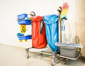Cleaning trolley - service cart — Stock Photo