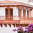 Typical canarian wooden balcony - Stock Photo