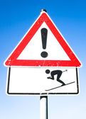 Warning sign of skier — Stock Photo