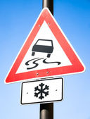 Snow warning sign — Stock Photo