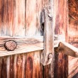 Wooden latch - Stock Photo