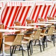 Hooded beach chairs — Stock Photo