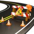 Warning of under construction on road. — Stock Photo