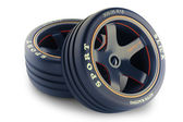 Slick wheels kit for race car — Stock Photo