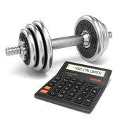 Chrome dumbbell and calculator calories — Stock Photo