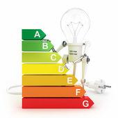 能源效率等级和机器人灯 — 图库照片