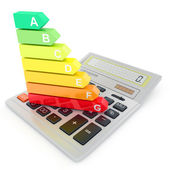 Energy efficiency rating on calculator — Stock Photo