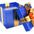 Blue gift with golden ribbons — Stock Photo #36607185