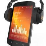 Modern headphones on musical smartphone — Stock Photo #36607191