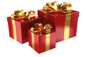 Group of red gifts — Stock Photo