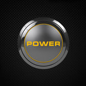 Orange LED power button on black background. — Stock Photo