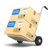 Delivery packages on a cart isolated on white background — Stock Photo