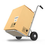 Delivery package on a cart isolated on white background — Stock Photo