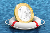 Euro coin on the water lifebuoy — Stock Photo