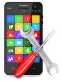 Multimedia smartphone araçlar. beyaz arka plan üzerinde izole — Stok fotoğraf