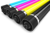 Printer CMYK rollers isolated on white background — Stock fotografie