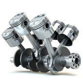 V6 engine pistons. 3D image. — Stock Photo