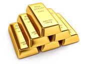 Lingotes de oro aislados sobre fondo blanco — Foto de Stock