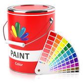 Může s paletou barev a vzorků — Stock fotografie