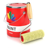 Can with print and roller paintbrush — Стоковое фото