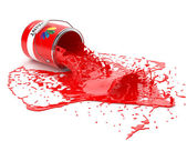 Splash of red paint in can — Stockfoto