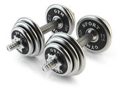 Group of steel dumbbells isolated on white background. 3D — Stock Photo