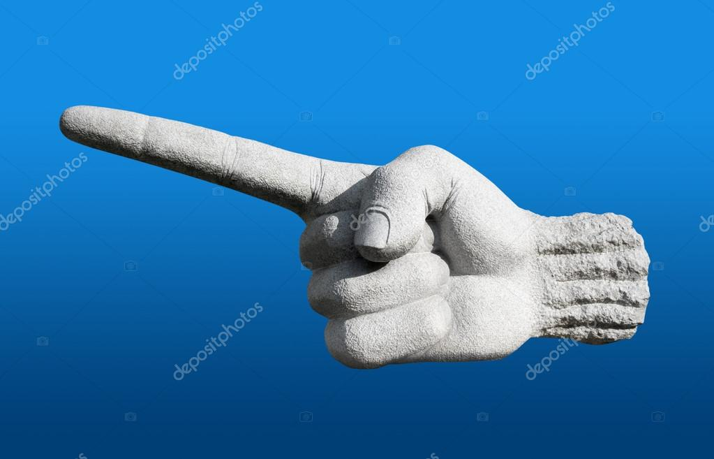Forefinger made of stone, isolated on blue background — Stock Photo #14944615