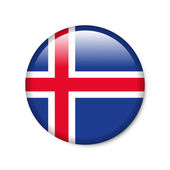 Iceland - glossy button with flag — Stock Photo