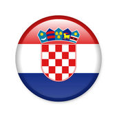 Croatia - glossy button with flag — Stock Photo