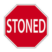 Joke road sign - STONED — Stock Photo