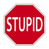 Joke road sign - STUPID — Stock Photo