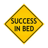 Fun road sign - Success in bed — Stock Photo