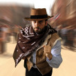 Gunman runs in the far west - Stock Photo