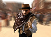 Gunman runs in the far west — Stock Photo