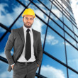 Engineer man with helmet accident - Stock Photo