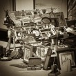 Flea market with seppia effect - Stock Photo